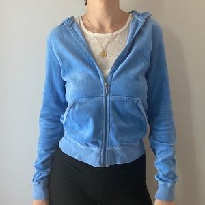 🌟SOLD🌟 Baby Blue Juicy Couture Zip Up Hoodie